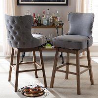 7073-2PC-RCW Grey Button-Tufted Upholstered Swivel Bar Stool Pair -  Gradisca