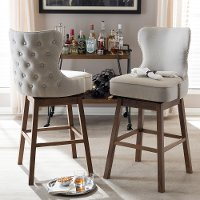 7074-2PC-RCW Taupe Button-Tufted Upholstered Swivel Bar Stool Pair - Gradisca