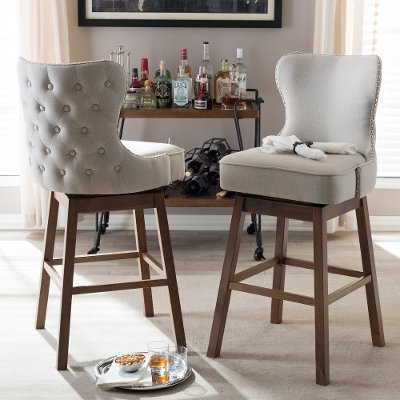 7074 2pc Rcw Taupe On Tufted Upholstered Swivel Barstool Pair Gradisca