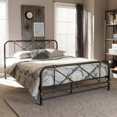 7034 RCW Vintage Industrial Black Finished Queen Metal Bed   Beatrice