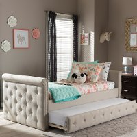 7039-RCW Modern Light Beige Tufted Twin Daybed - Swamson