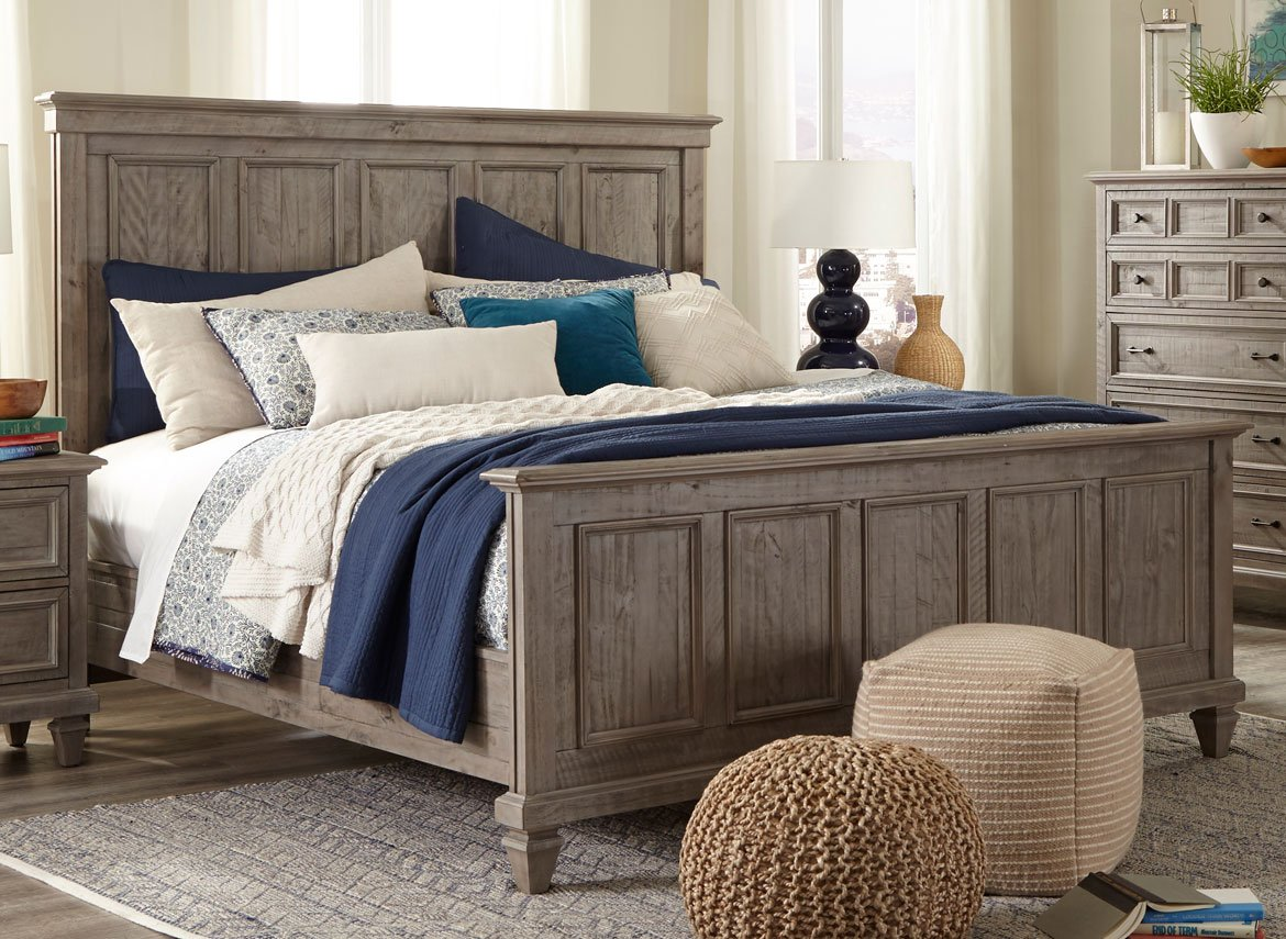 Casual Rustic Gray Queen Bed   Dovetail