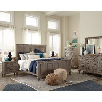 Casual Rustic Gray 4 Piece King Bedroom Set - Dovetail