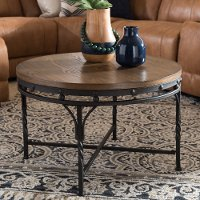 7327-RCW Vintage Industrial Round Coffee Table - Austin