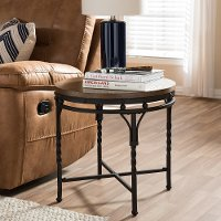 7326-RCW Vintage Industrial Round End Table - Austin