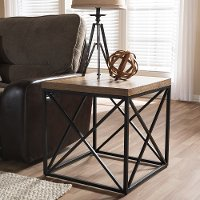 7329-RCW Vintage Industrial End Table - Holden
