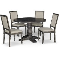 Dove Gray 5 Piece Dining Set with Round Table - Muses