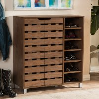 6602-RCW Modern Shoe Cabinet with Open Shelves - Shirley