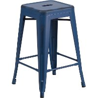 Backless Blue Square Counter Height Stool