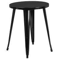 Black Metal Cafe Round Indoor-Outdoor Table