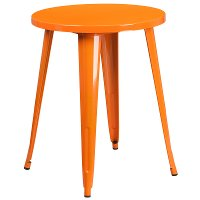 Orange Metal Cafe Round Indoor-Outdoor Table
