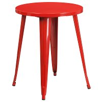 Red Metal Cafe Round Indoor-Outdoor Table