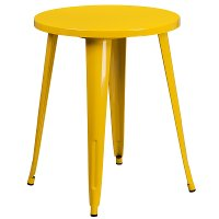 Yellow Metal 24 Inch Cafe Round Indoor-Outdoor Table