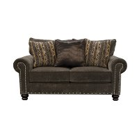 Traditional Tiger's Eye Brown Loveseat - Avery
