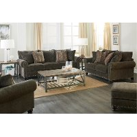 Traditional Tiger's Eye Brown Sofa & Loveseat Set - Avery