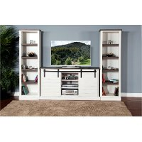 3 Piece Charcoal Gray and White Entertainment Center