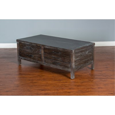 rustic dark brown coffee table - dundee | rc willey furniture store