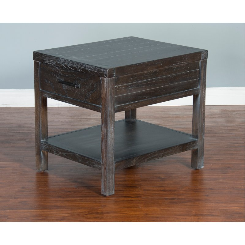 Rustic Dark Brown End Table   Dundee