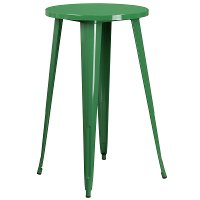 Green Metal Cafe Round Indoor-Outdoor Bar Table