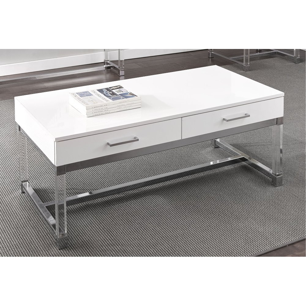 Modern White Coffee Table Everett RC Willey Furniture Store
