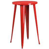 Red Metal Cafe Round Indoor-Outdoor Bar Table