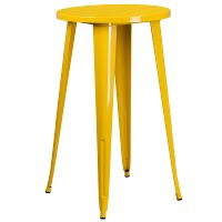 Yellow Metal Cafe Round Indoor-Outdoor Bar Table
