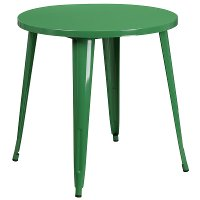 Green Metal 30 Inch Round Indoor-Outdoor Cafe Table