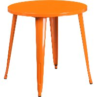 Orange Metal 30 Inch Round Indoor-Outdoor Cafe Table