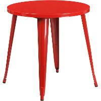Red Metal 30 Inch Round Indoor-Outdoor Cafe Table