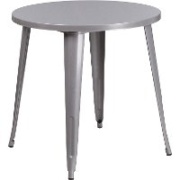 Wonderful Silver Metal 30 Inch Round Indoor Outdoor Cafe Table ...