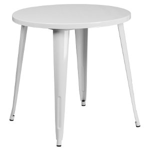 ... White Metal 30 Round Indoor Outdoor Cafe Table ...