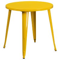 Yellow Metal 30 Inch Round Indoor-Outdoor Cafe Table