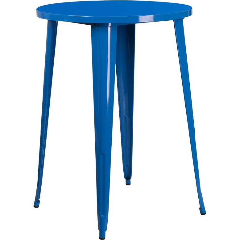 Blue Metal 30 Inch Round Indoor Outdoor Cafe Bar Table