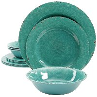 12 Piece Green Melamine Dish Set