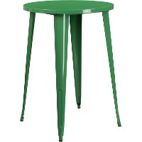 Green Metal 30 Inch Round Indoor-Outdoor Cafe Bar Table