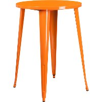 Orange Metal 30 Inch Round Indoor-Outdoor Cafe Bar Table