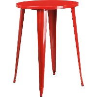 Red Metal 30 Inch Round Indoor-Outdoor Cafe Bar Table