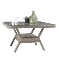 Woven Outdoor Patio Chat Table with Glass Top - Mayfair