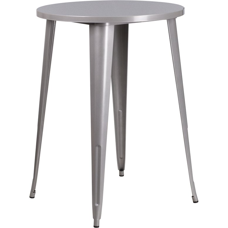 ... Silver Metal 30 Inch Round Indoor-Outdoor Cafe Bar Table - Patio Tables & Patio Table Sets RC Willey Furniture Store
