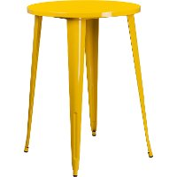 Yellow Metal 30 Inch Round Indoor-Outdoor Cafe Bar Table