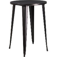 Black Metal 30 Inch Round Indoor-Outdoor Cafe Bar Table