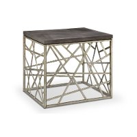 Distressed Silver and Gray End Table - Tribeca