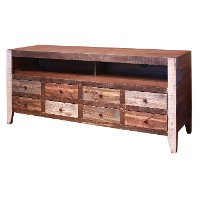 68 Inch Multicolor Rustic Pine TV Stand - Antique