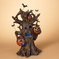 Lighted Resin Haunted Tree with Pumpkins and Sound