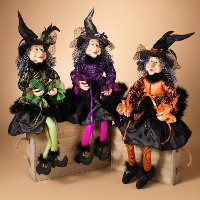 Assorted Fabric Sitting Witch Figurine