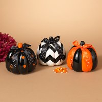 Assorted Dolomite Halloween Pumpkin with Bow