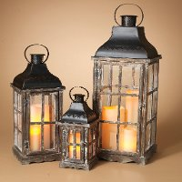 22 Inch Natural Wood and Metal Lantern