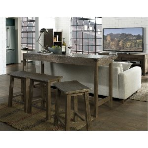 ... 101919 105038 Walnut Brown Counter Height Sofa Table   St. Croix