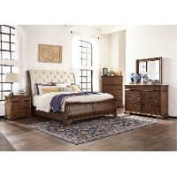 Coffee brown upholstered traditional 6 piece queen - Espresso brown bedroom furniture ...