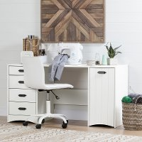 10544 White Sewing Craft Table with Storage - Artwork